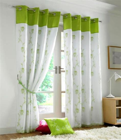 Tahiti embroidered voile fully lined eyelet curtains lime green amp white ready made curtains