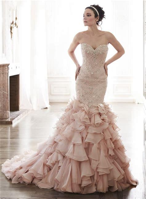 blush mermaid wedding gown for fashionable brides