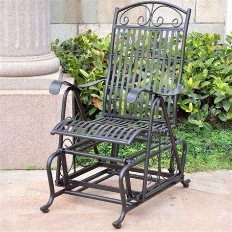 wrought iron patio glider bench international caravan mandalay wrought iron black single