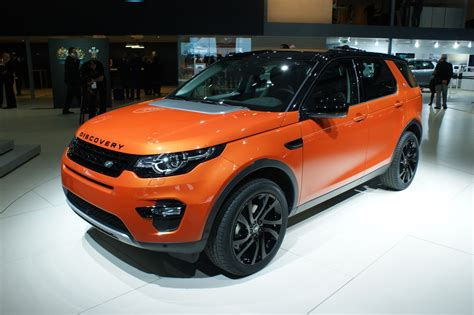 orange land rover discovery new land rover discovery sport gets colorful in paris