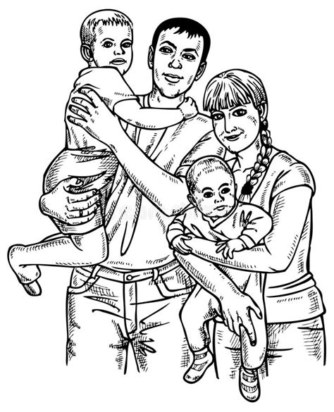 drawing for parents family four stock vector illustration of parents