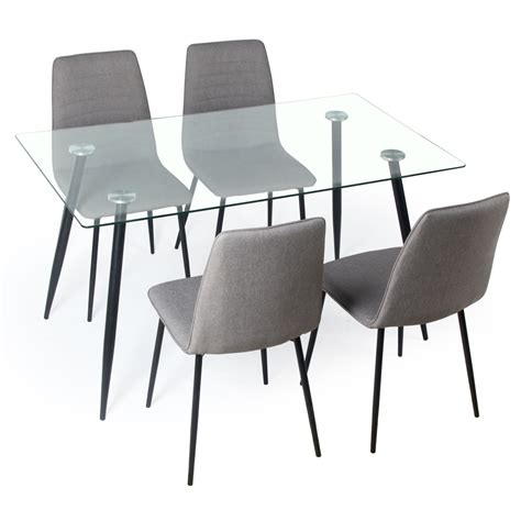 Glass Dining Tables And Chairs Gerona Glass Table And Four Chairs Set