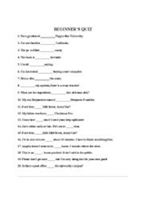 printable preposition quiz english worksheets beginner 180 s preposition quiz
