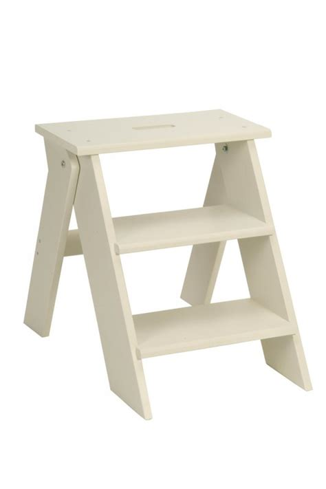 garden trading folding wooden step stool in chalk at