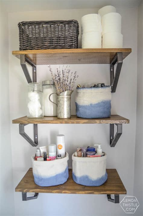 Basket Shelves For Bathroom Diy Dip Dye Cloth Baskets Bathroom Organization Lemon Thistle