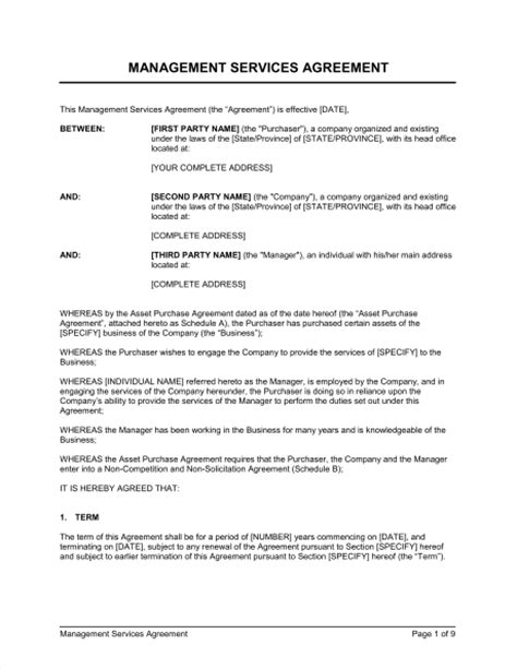 management services agreement template sle form