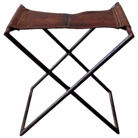 Leather Folding Stool by Leather And Iron Folding Stool At 1stdibs