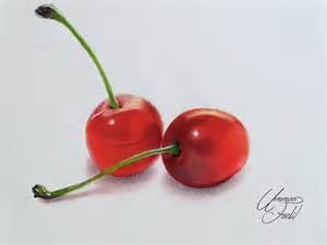 colored cherries drawing fruits 1 cherries colored pencils by f a d i l