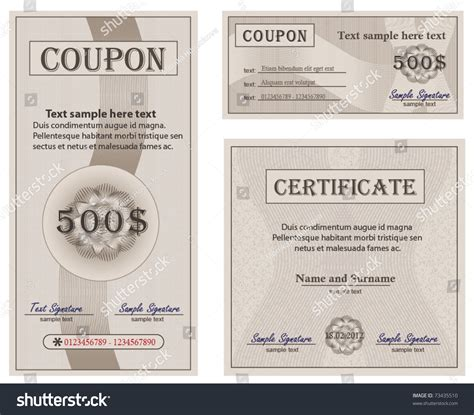 coupon certificate template coupon certificate collection paper vector template