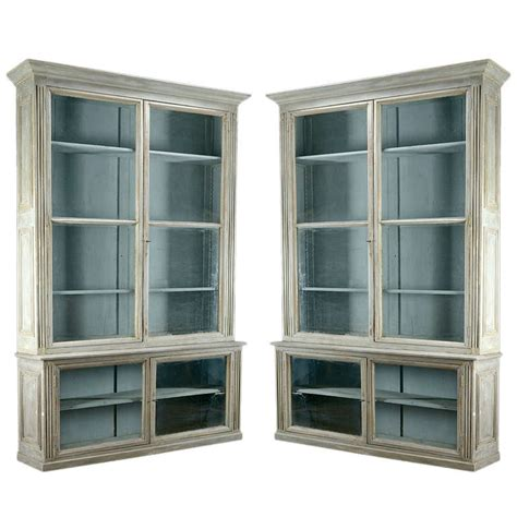 Bookcases Glass Doors Pair Of Antique Glass Door Bookcases At 1stdibs