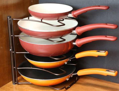 Cooking Pan Storage Counter Cabinet Pan Organizer Shelf Rack Kitchen