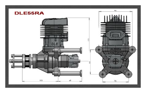 Dle 55ra Engine dle 55ra rear exhaust petrol engine dle55ra
