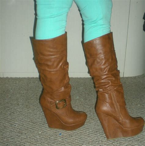 20 bamboo shoes chestnut wedge heels boots size 8