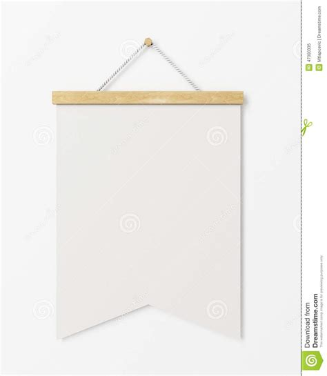 mock up blank poster flag with wooden frame hanging on the