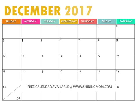 printable december 2017 calendar pinterest the free printable 2017 calendar by shining mom