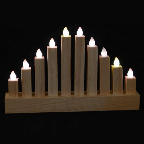 Battery Operated Natural Wooden Pillar Candle Bridge With Candle Bridge Lights