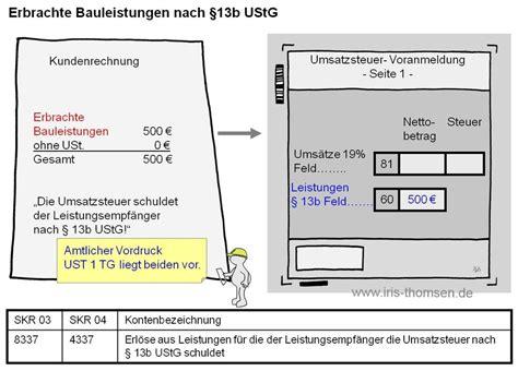Musterrechnung Bauleistungen 13b Ustg iris thomsen inland leistung 167 13b ustg