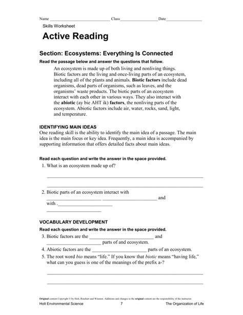 Skills Worksheet Active Reading What Is An Ecosystem Answers