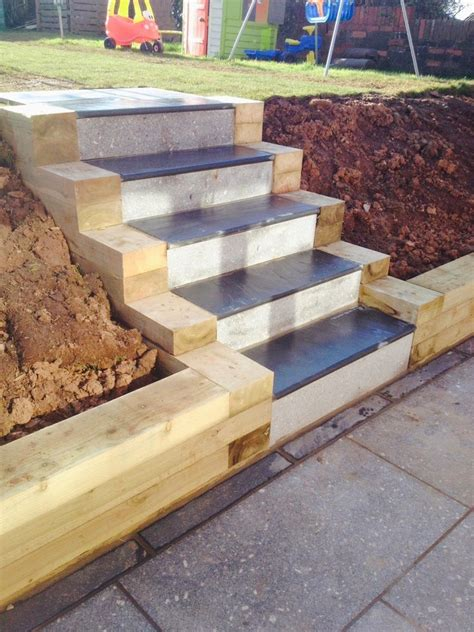Building A Sleeper Retaining Wall by Granite Patio Sleeper Retaining Wall Slate Steps Build In Lakeside Cardiff