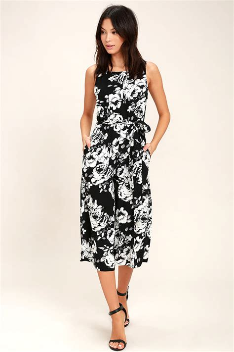 Midi Jumpsuit chic black and white jumpsuit floral print jumpsuit midi jumpsuit 59 00