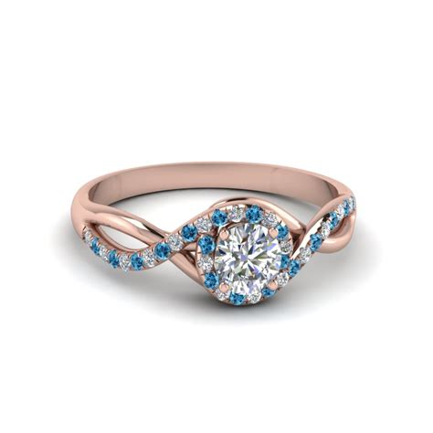 cut twisted halo engagement ring with