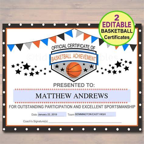 Editable Basketball Certificates Instant Download Basketball Basketball Award Templates