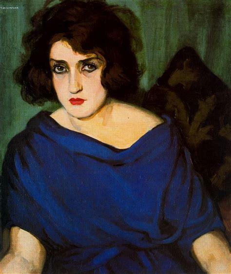tamara de lempicka portrait de femme en bleu by tamara de lempicka