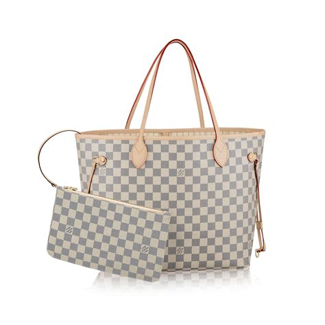 Louis Vuitton New Louis Vuitton Damier Azur Collection by Neverfull Mm Damier Azur Canvas Handbags Louis Vuitton