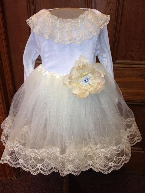 flower girl dress infant shabby chic tutu petti with lace