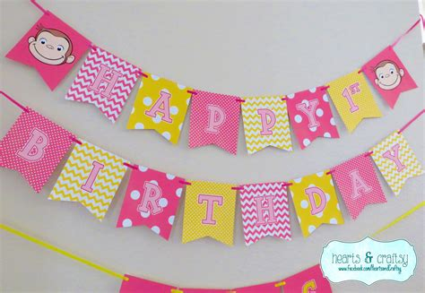 curious george printable birthday banner curious george happy birthday banner curious george birthday