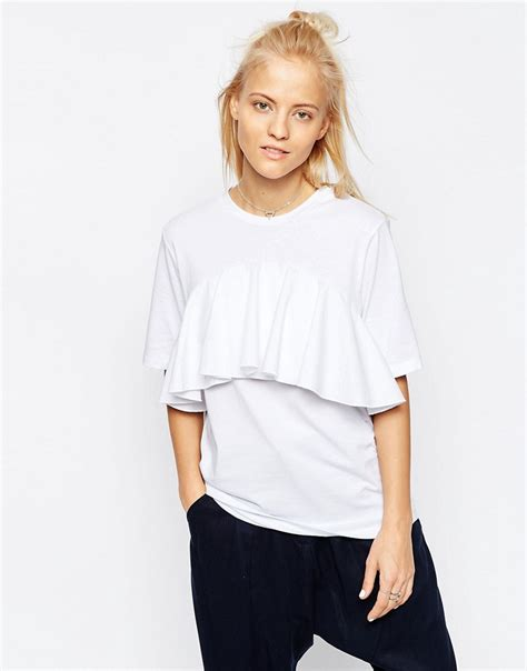 asos white asos white frill detail t shirt at asos