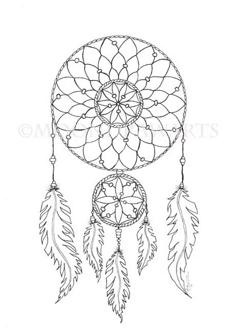 coloring pages moon dreamcatcher dream catcher printable coloring page adult by