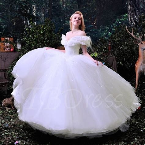 White Gown Tulle the shoulder ruffles cinderella white tulle gown