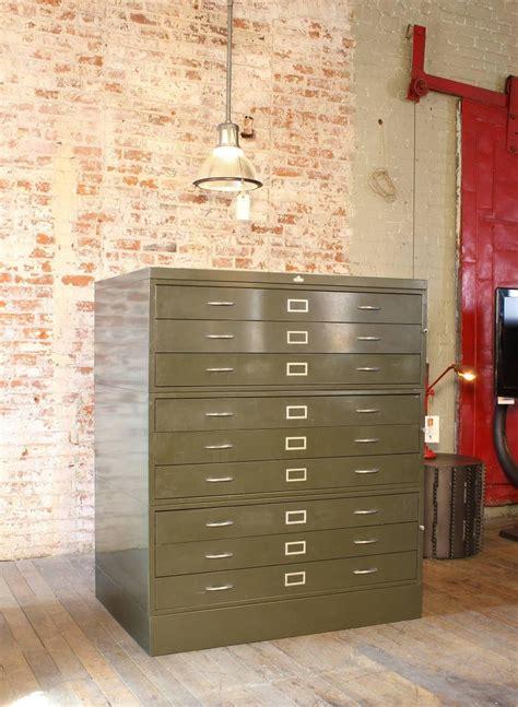 vintage  steel flat file storage cabinet  stdibs