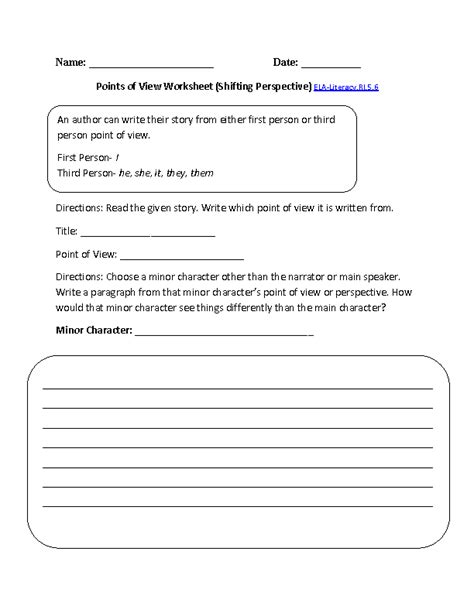 Point Of View Worksheets For Middle School by 5th Grade Common Reading Informational Text Worksheets