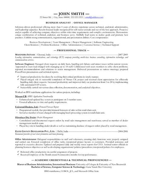 Junior Business Analyst Resume Sles 59 Best Images About Best Sales Resume Templates Sles On Professional Resume A