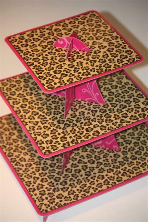 3 tier leopard cheetah pink swirls cupcake stand cardboard