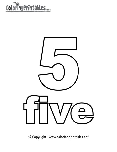 Number 5 Coloring Pages For Toddlers by Number Five Coloring Page Printable Numbers Worksheets