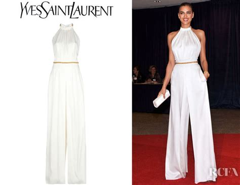 Who Wore The Ysl Jumpsuit Better by Irina Shayk S Ysl Chain Detail Jumpsuit Carpet