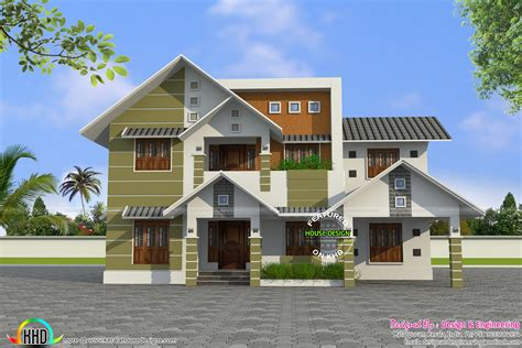sloping roof house designs modern style sloping roof house plan kerala home design