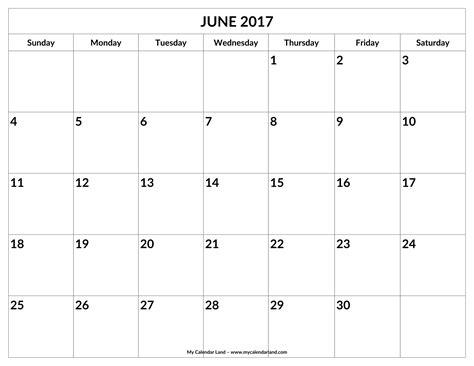 printable calendar large spaces june 2017 calendar my calendar land
