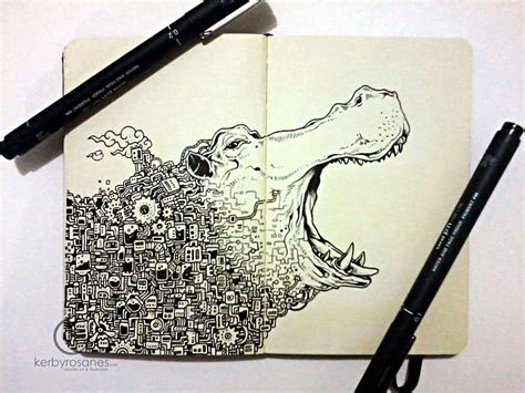 awesome pen doodles new incredibly detailed pen doodles by kerby rosanes