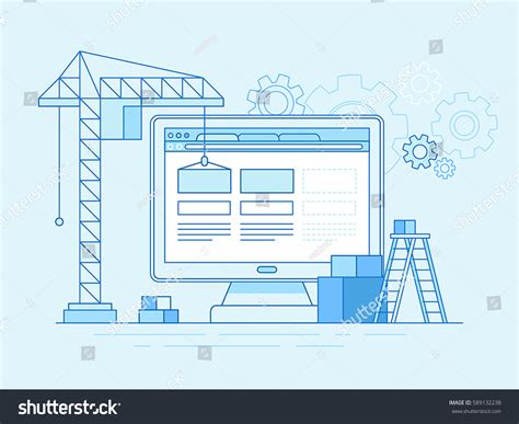 linear layout web design vector illustration trendy flat linear style stock vector