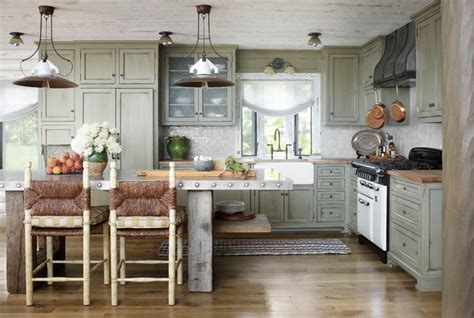 Whitewashed Lake Cabin Rustic Kitchen milwaukee by Jessica Jubelirer Design