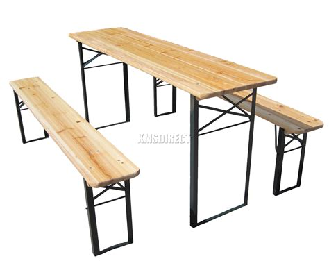 Patio Bench Table Outdoor Wooden Folding Table Bench Set Trestle Garden Furniture Steel Leg