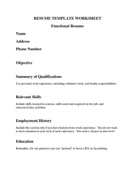 resume worksheet template best resumes