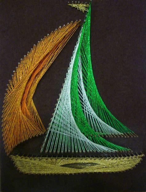 String Boat - vintage retro ship boat wall hanging string nail