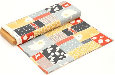 Patchwork Fabric Usa - patchwork forest stag bee canvas organic fabric birch usa