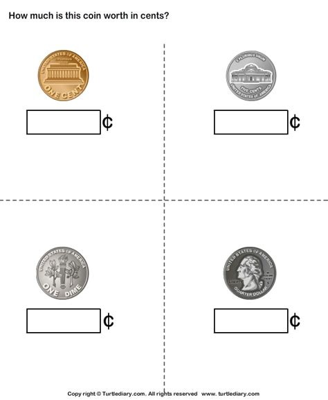Coin Values Worksheet by Name And Value Of Coins Turtlediary