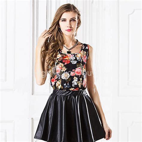 Womens Stylish Black Floral Chiffon Vest floral print sleeveless black chiffon vest for 6 87